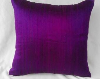 purple row silk throw pillow 16x 16 luxury look shine cushion cover