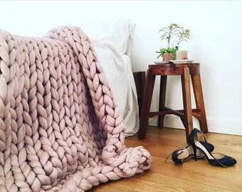 Chunky Knit blanket Bigloop merino blanket plaid throw wool