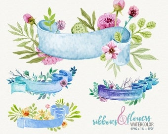 ribbon clipart, watercolor banners, watercolor ribbons, ribbon clip art, ribbon with flowers