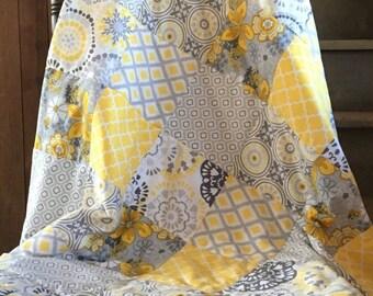 Floral Modern Baby Quilt, Gender Neutral Geometric Infant Blanket, Crib Nursery Bedding, Yellow, Grey Flowers, Soft, Fuzzy, Minky Backed