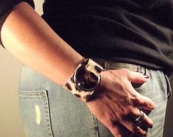 Bracelet / cuff leather printed leopard or uni beige