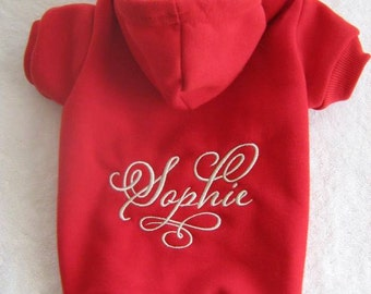 Dog Hoodie. Personalized Name. Custom Dog Sweater. Dog Clothes. Doggie Hoodie. Pup Hoodie. Swirly. Machine Embroidery