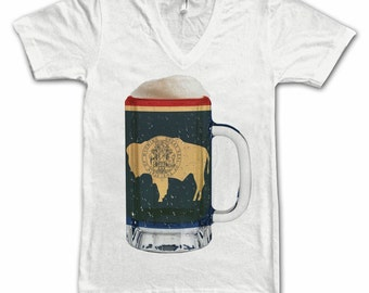 Ladies Wyoming State Flag Beer Mug Tee, Home State Tee, State Pride, State Flag, Beer Tee, Beer T-Shirt, Beer Thinkers, Beer Lovers Tee