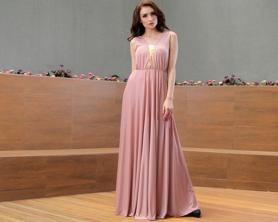 Dusty Rose Sequin Boho Long Dress Maxi Mother Of The Bride