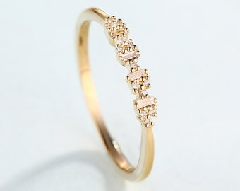 14K Gold Diamond wedding ring Thin Dainty Simple Stackable stacking ring Delicate Baguette Minimalist Promise Gift for women Matching band
