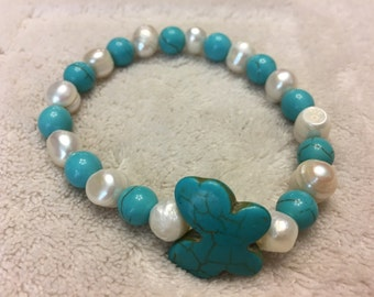 Turquoise Butterfly & Freshwater Pearls