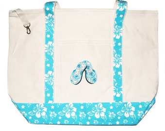 Large Beach tote bag with front pocket and key fob and velco closure with embroidered Flip Flops or New Jersey Shore theme