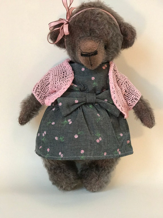 Handmade artist teddy bear mohair ooak plush animal bear toy for her. Nursery accent. Made to order. 2-3 weeks processing time.