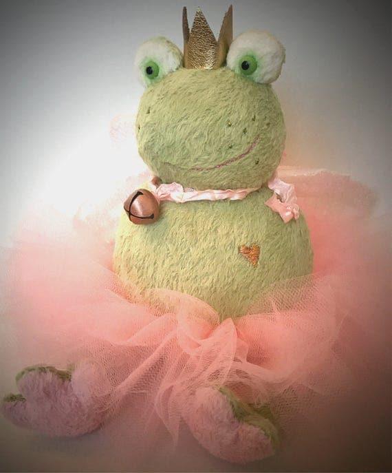 Handmade to order artist toy Princess frog. Handmade, nursery decor, children's room, teddy frog.