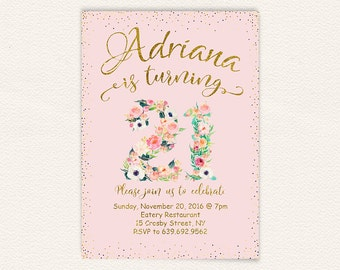 Pink and gold, floral invitation, 21st birthday, birthday party, twenty one, twenty first, happy birthday, glitter, watercolor floral 41