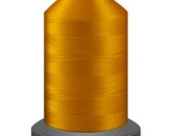 bright gold thread, glide trilobal polyester no 40, Tex 27, sewing thread, quilting thread, 1000m cone