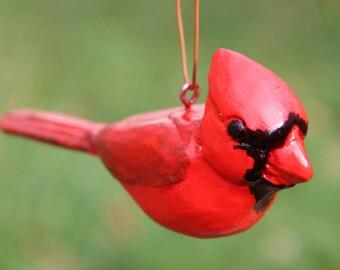 Cardinal Ornament, Wood Carving