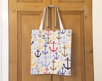 Multicoloured Anchor Print Tote Bag