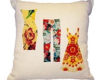 Vintage Clothing Linen Decorative Pillow