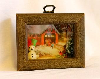 SALE 20% off  Vintage Winter Scene Shadowbox/Diorama