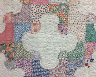 Drunkards Path 20's 30's Feedsack Vintage Quilt Farmhouse Style Size 82x82 Great Antique Condition