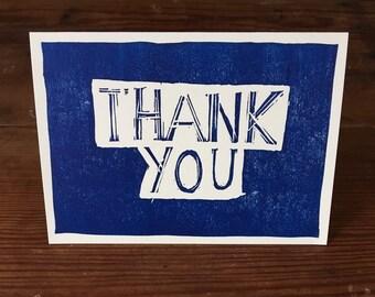 Thank you greetings card handmade | linocut | made in UK |