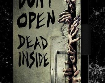 Walking Dead Dont Open Dead Inside Horror Blood Zombie Leather Flip Phone case cover