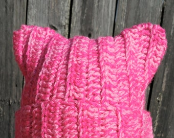 Crochet Pink Pussy Hat for Pussy Hat Project Cat Ears Hat Women's March Pink Cat Hat