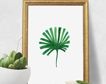 Watercolor Print - Green Palm Leaf Digital Download Art Print