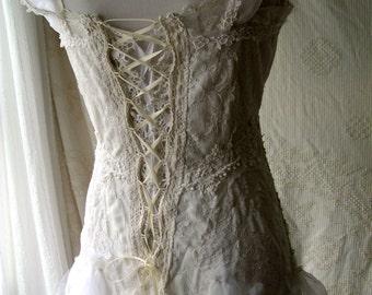Fantasy Fairytale Wedding Dress,Unique Bridal Gown,Boho Wedding, Bohemian Bride, Lace Wedding Dress, OOAK, Bridal Gown, 100% Sustainable