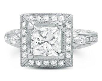Vintage Princess Cut Diamond Engagement Ring 2.35 Carat VS2/F In 14K White Gold