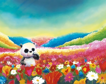 Panda 'Flowers' | Illustration | Print | Postcard | by hasetill