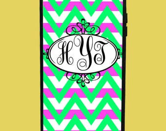 Pink Lines&Green Chevron Design Phone Case with 3 initials.  Customized Name. Monogrammed Case. Personalized.