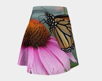 Monarch Butterfly, Flare Skirt, skirt, women's fashion, butterfly skirt, monarch butterfly skirt, fun skirt, butterfly, cone flower, insect