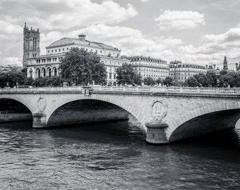 Parisian Bridge over River Seine, Paris Wall Art, Paris Architecture, Paris France Print, Paris Black and White, Paris Fine Art Photography