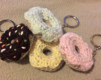 Mini doughnut keyrings. Cute hand crocheted sugar sprinkled donut keychains