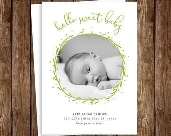Woodland Minimalist Baby Birth Announcement - DIY Printable JPEG