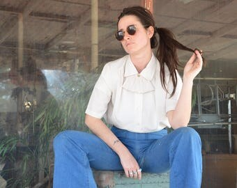 1980s Ivory Blouse//Detachable Acost Collar