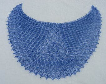 Blue shawl, Hand knitted, Lace shawl, Evening shawl