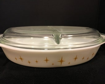 Vintage Pyrex Yellow Star Burst Constellation 1 1/2 Quart Divided Casserole Dish with Lid