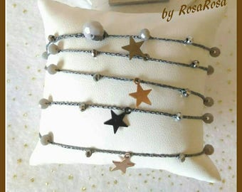 Basavaraj Necklace/Bracelet jewelry, silver, precious woman with multipurpose star 925 and crystals.