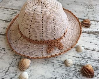 Summer hat...Cotton sun hat...Cream summer hat