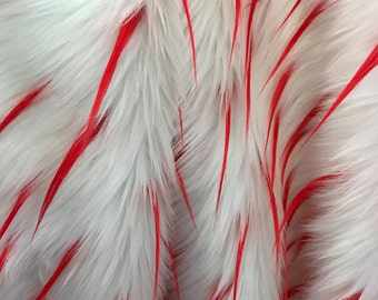 White Faux Fur With Red Spikes Fabric By The Yard 60'' Width