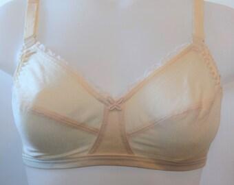 True Vintage Mary Jane Champagne color 36B Nursing bra 100% Pima cotton