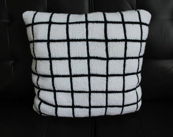 Black and White Knitted Pillow