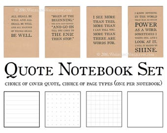 Bullet Journal Set, A5 Notebooks | Kraft Cahier Journals, Literary Quote Gift Set for Writer | Recycled Paper, dotted grid plain lined ruled