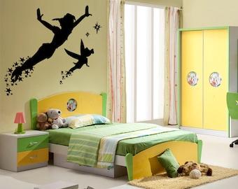 Wall Decal Sticker Bedroom Peter Pan Tinkerbell cartoon kids boys girls room  099b