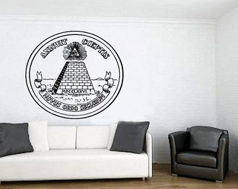Wall Decal Sticker Bedroom annuit coeptis eye piramyd mason 142b