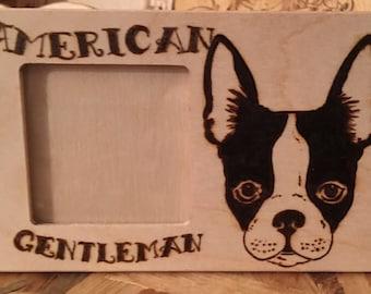 Portafoto legno pirografato con Boston Terrier