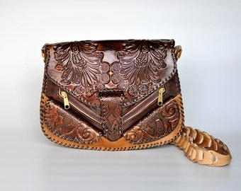 Tooled Leather Purse, Brown Tote Handbag, Embossed Satchel, Cross Body Bag Hand Made in Damascus