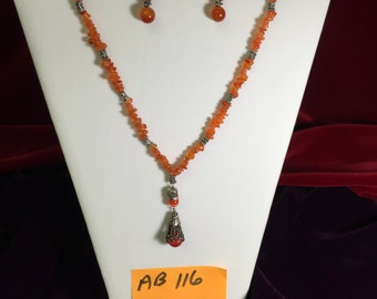 Carnelian Necklace And Earrings