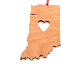 Heart Indiana Christmas Ornament - IN State Shape Ornament with Christmas Heart Cutout - Indiana Ornament Design by Heart State Shop