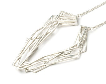 Solitaire necklace, 3D printed 925 silver