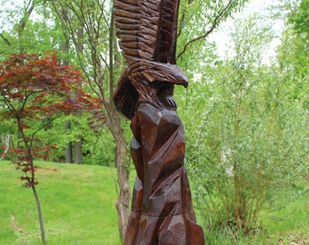 Eagle Chainsaw Carved from Poplar, 6 feet Tall