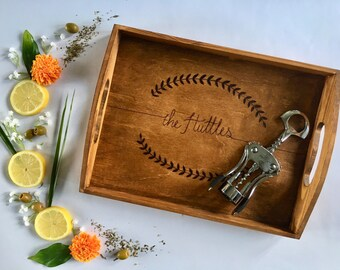 Woodburned Serving Tray with Last Name